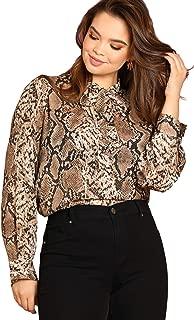 Women's Plus Elegant Leopard Chiffon Button Down Bow Tie Blouse Top Shirts