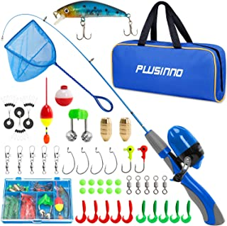 PLUSINNO Kids Fishing Pole,Portable Telescopic Fishing Rod and Reel with Fishing Net (Blue Handle with Net, 150cm 59.05In)