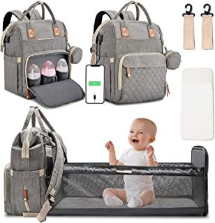 3 in 1 Diaper Bag Backpack with Changing Station Portable Baby Bag Foldable Baby Bed Back Pack Travel Waterproof Large Travel Bag with USB, Stroller Straps, Insulated Pockets, Gift for Mom Grey