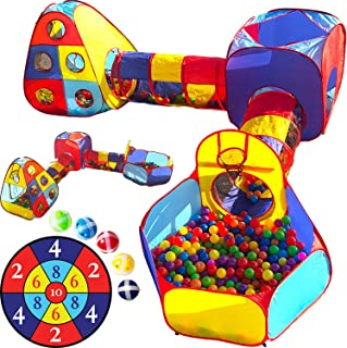 Playz 5pc Kids Playhouse Jungle Gym Ball Pit with Dart Board & 5 Sticky Balls - Fold Up Pop Up Tents, Tunnels & Basketball...