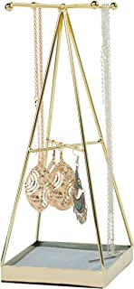 SUNNYDATE Jewelry Stand Organizer, Metal Jewelry Display Holder for Necklace, Earring and Accessories (Pyramid with Soft T...
