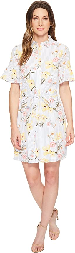 Botanical Blooms Shirtdress w/ Ruffle Sleeve