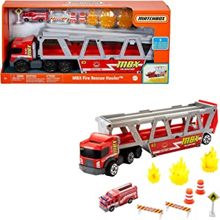 Match Box Fire Rescue Hauler Playset with 1 Fire Themed Vehicle & 8 Accessories GWM23, Multicolour