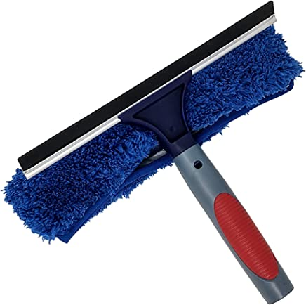 Pomatree Professional Window Cleaning Rubber Squeegee and Microfiber Cloth Scrubber | Combo Set 2-in