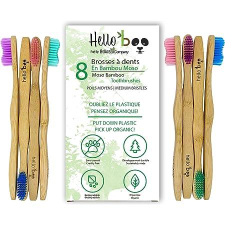 Cepillo de dientes de bambú para adultos y adolescentes  Juego de 8 cepillos biodegradables de cepillo de dientes   Bambú de Moso ecológico ecológico con mangos ergonómicos y cerdas de nailon medianas