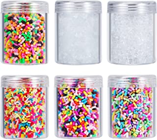 Zhanmai 6 Packs of Colorful Fake Candy Sweets Sugar Chocolate Ice Sprinkles Decorations for Fake Cake Dessert Simulation Food Slime Kit DIY Crafts with Storage Bottles