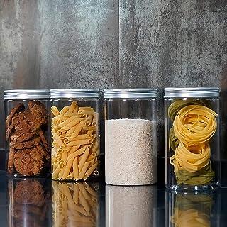 Annfly Lot de 4 bocaux en polyéthylène de qualité alimentaire transparents pour le thé, les aliments secs, les pâtes et le...