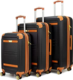 Vintage 3 Piece Expandable Hard Spinner Luggage Set