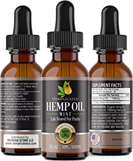 Hemp Oil 1000mg for Pain Relief, Stress Relief, Anti Anxiety, Sleep Aid, PTSD, Skin and Hair - Organic Drops from Certified USA Growth Hemp Farms - 1 Fl Oz (30 ml) HEMPLICATED