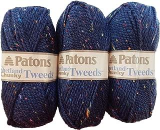 Patons Shetland Chunky Tweed Yarn ( 3 Pack) Bulky Acrylic Wool Blend ( Medium Blue)