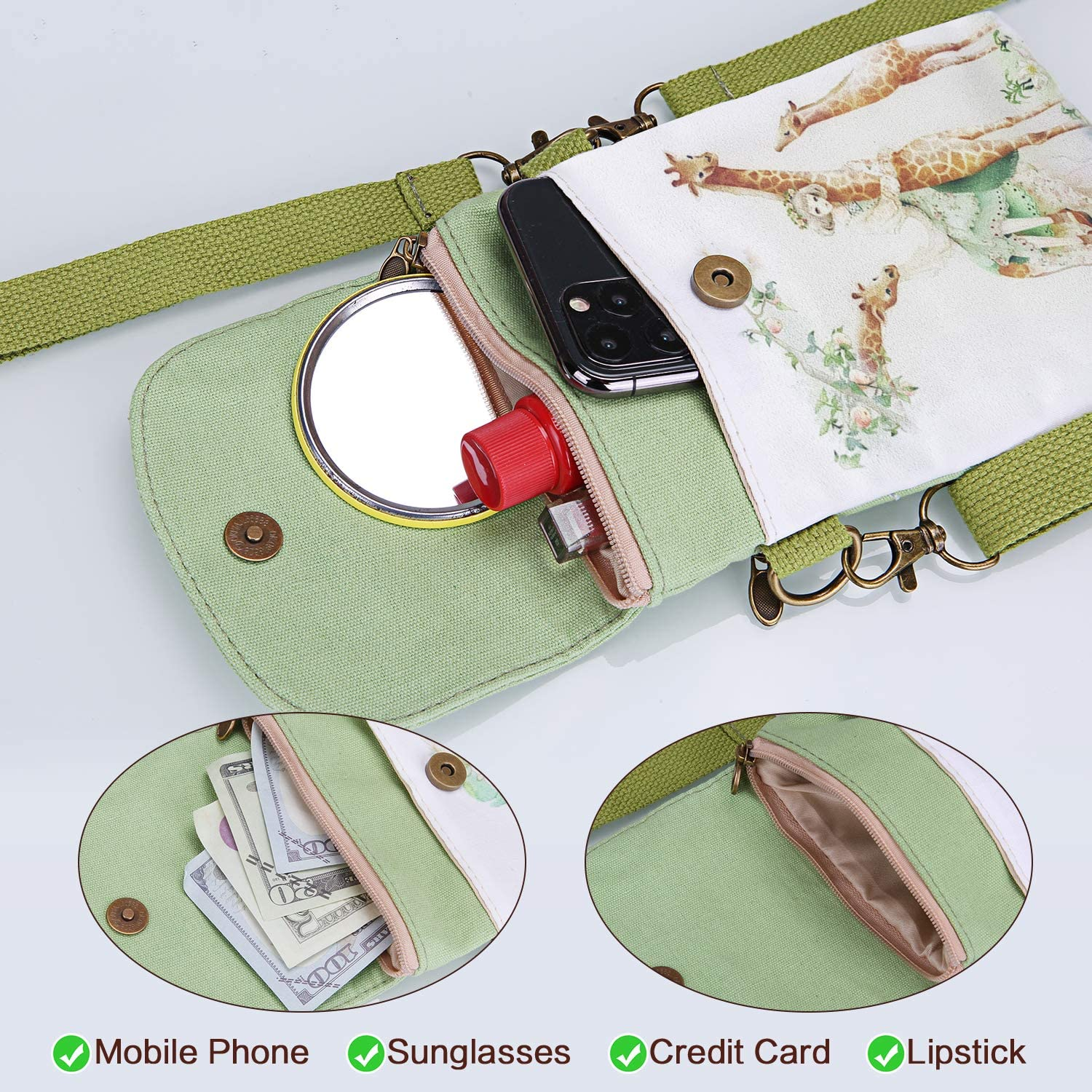 Veediyin Abaddon Crossbody Bags Canvas Small Cute Cell Wallet Bag Phone Purse with Shoulder Strap coin purse Candy Bag