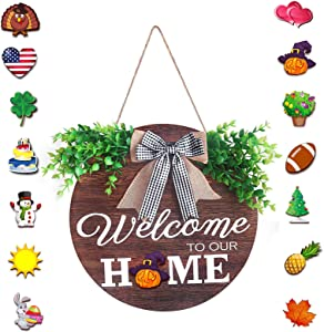 Interchangeable Welcome Sign Front Door Decor, Wooden Seasonal Wreath with Buffalo Plaid Bow, Wall Hanging Outdoor Front Porch Holiday Decorations for Spring Summer Christmas Home Decor