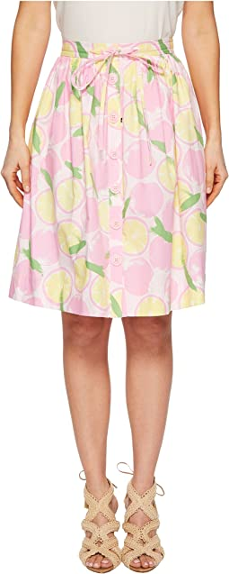 Lemon Print Knee-Length Skirt