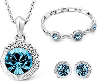 T400 Blue Crystal Macthing Necklace Earring and Bracelet Jewelry Set for Women Girls Gift for Her