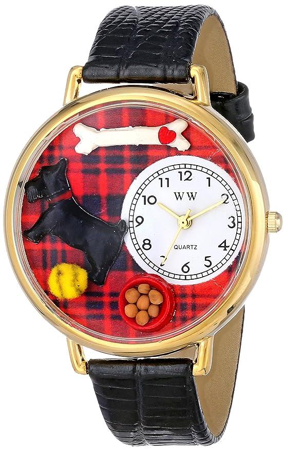 イディオムできた気づくなるスコッティ 黒レザー ゴールドフレーム時計 #G0130067