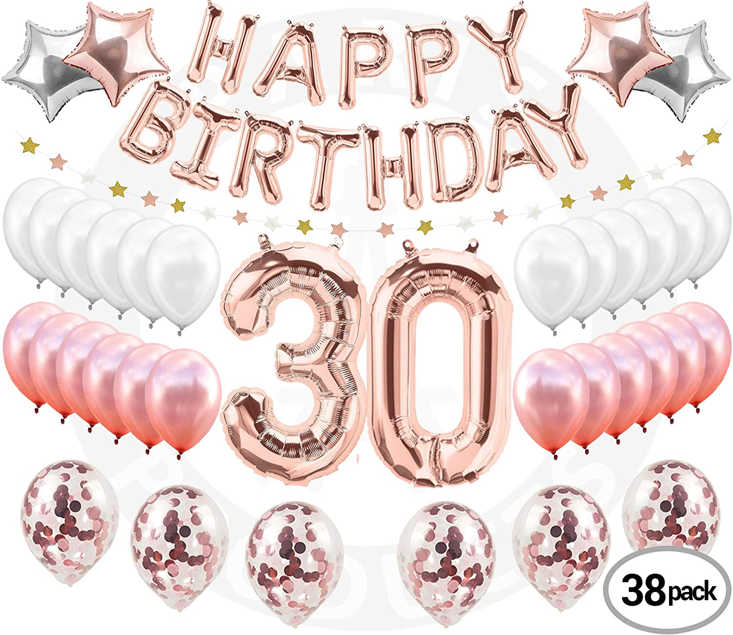 30th Birthday Decorations Pink Gold 38 Pieces Great For