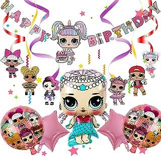 Yisscen LOL Surprise Dolls Party Set, LOL Ballon Serpentins à Suspendre, Ballons de Poupées d'anniversaire LOL avec Banniè...