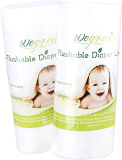 Wegreeco 100% Natural Ingeo fibers Unscented Biodegradable Diaper Liners,Fragance Free and Chlorine Free - 100 Sheets Per Roll (2 Roll, Ingeo Fibers)