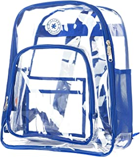 Heavy Duty Clear Backpack See Through PVC Stadium Security Transparent Workbag | Royal Blue
