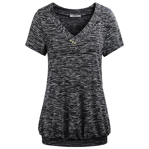 d1d588de9119 Cestyle Women's V Neck Short Sleeve Banded Hem T Shirt Tops