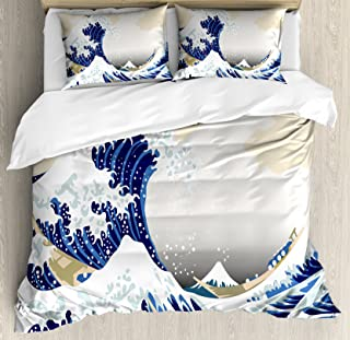 Lunarable Wave Duvet Cover Set, Hokusai Pattern Japanese Ukiyoe Themed Oriental Sketch Style Ocean, Decorative 3 Piece Bedding Set with 2 Pillow Shams, Queen Size, Navy Beige