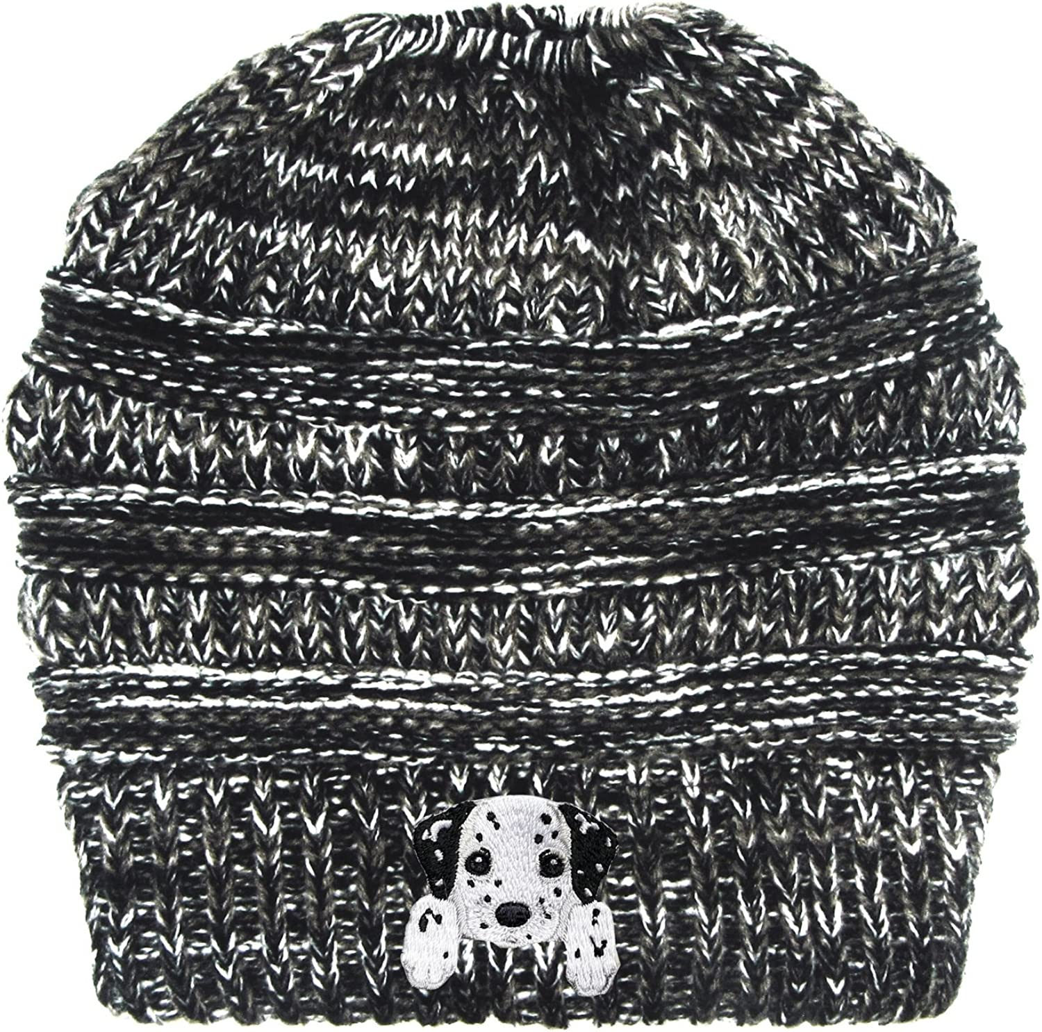Lhotse Dalmatian Embroidered Puppy Dog Series Beanie  Stretch Fleece Cable Knit High Bun Ponytail Skullies Hat Cap  Black White Mix