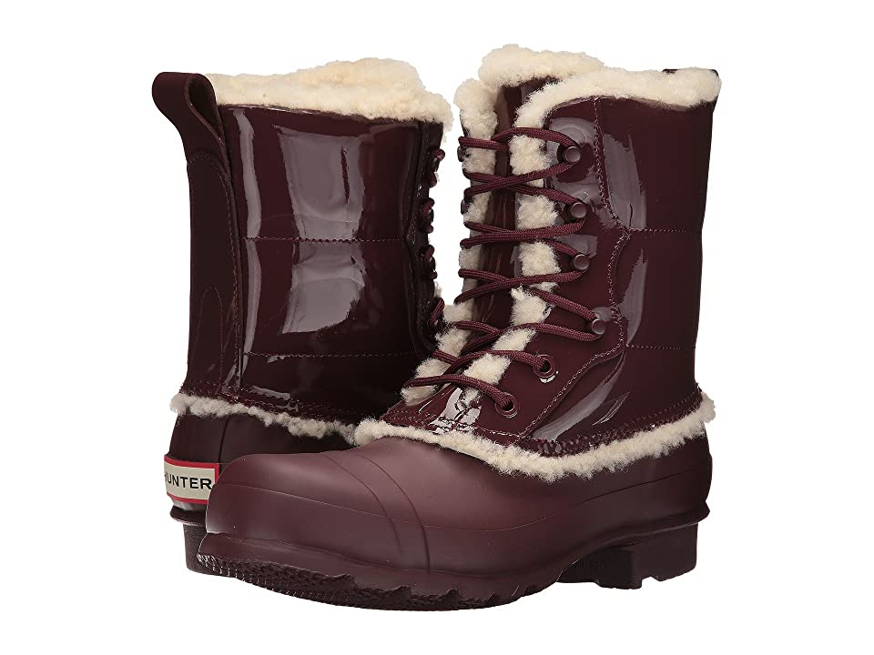 Hunter Original Patent Leather Lace-Up Shearling Lined Boot (Dulse) Women's Rain Boots, Brown