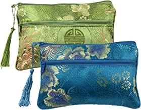 2PCS Silk Brocade Padded Tassel Double Zipper Jewelry Pouch Drawstring Coin Purse Gift Bags Value Set (Assort Color 8)