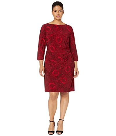 LAUREN Ralph Lauren Plus Size Print Jersey Dress (Parlor Red/Black) Women