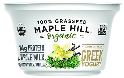 Maple Hill Creamery, 100% Grass Fed Organic Greek Yogurt, Vanilla, 5.3 oz