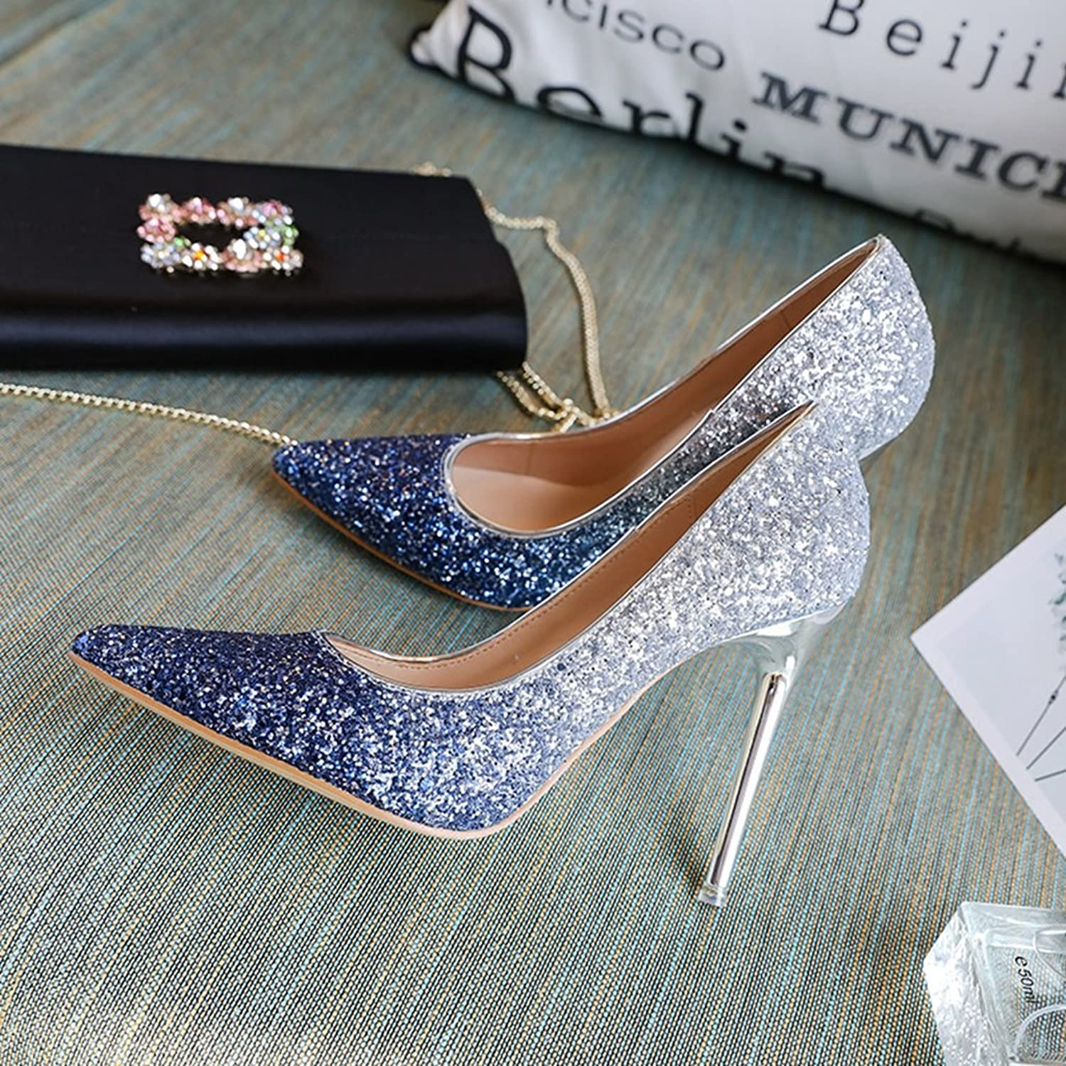 Female Summer tip high Heels high shoes Crystal Wedding shoes Bridesmaid Bride shoes Work shoes Shopping shoes (color   bluee, Size   35)