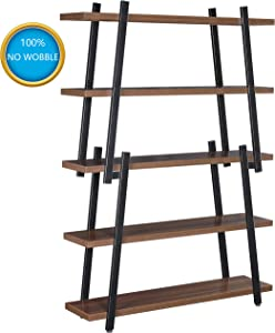 "Book Shelf, Ticova 5-Shelf Bookcase with Sturdy Frame, Industrial 5-tier Storage Display Shelves for Home Office Organizer with 1.4"" Thickened Board, Walnut"