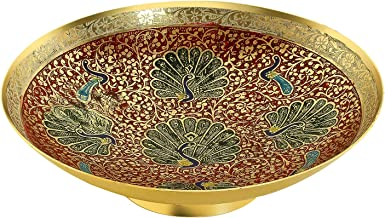 Zap Impex Gold Plated Brass Decorative Round dry Fruit Bowl carving Work - Size- 9