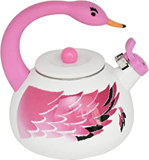 HOME-X Pink Flamingo Whistling Tea Kettle, Animal Teapot, Kitchen Accessories and Décor