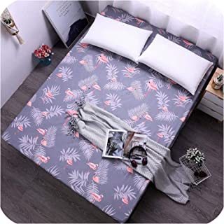 Bed Sheet with Blue Elastic Band Flower Printed Bedding Mattress Covers Fitted Sheet Sets with Elastic for 150x200 cm,Flamingo,150x200x25CM
