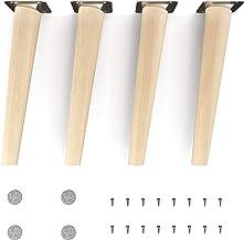 sossai® houten meubelpoten - Clif | Natuur (onbehandeld) | Hoogte: 25 cm | HMF2 | rond, conisch (schuin ontwerp) | Materia...