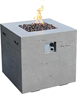 MODENO Ellington Outdoor Fire Pit Propane Table 27 Inches Square Firepit Table Concrete High Floor Patio Heater Electronic Ignition Backyard Fireplace Cover Lava Rock Included