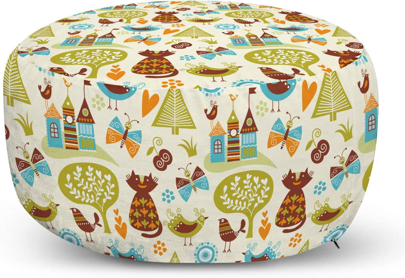 Kansas City Mall Ambesonne Cats Pouf Cover with 5 ☆ popular Butterflie Zipper and Birds