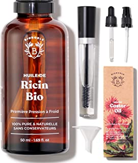 HUILE DE RICIN BIO | 100% Pure, Naturelle & Pressée à Froid | Cils, Sourcils, Corps, Cheveux, Barbe, Ongles | Vegan Castor...