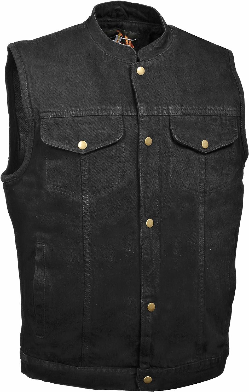 Mens Denim Snap Front Gun Pocket MC Vest, Black Size L