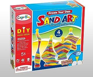 JADE DIY Sand Art Kit- Sand Art Supplies Craft Kit- 4 Sand Art Bottles with 6 Colour Sands – DIY kids Sand Art