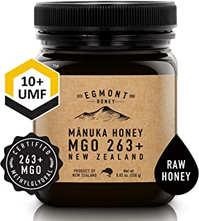 Egmont Honey Manuka Honey MGO 263+ UMF 10+ 8.8oz 100% Natural Non-GMO Ethically Sourced Superior Flavour Superfood from Sustainable Bee Hives in the Remote Manuka Forests of New Zealand