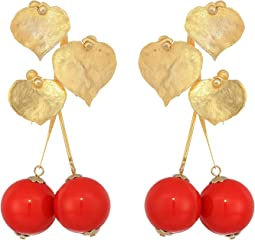 "2.5"" Satin Gold Leaves with Cherry Drop Post Earrings"