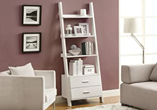 Monarch Specialties , Bookcase, Ladder with 2-Storage Drawers, White, 69