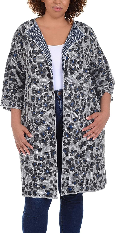 Women's Plus Size Long Jacquard Knit Cardigan