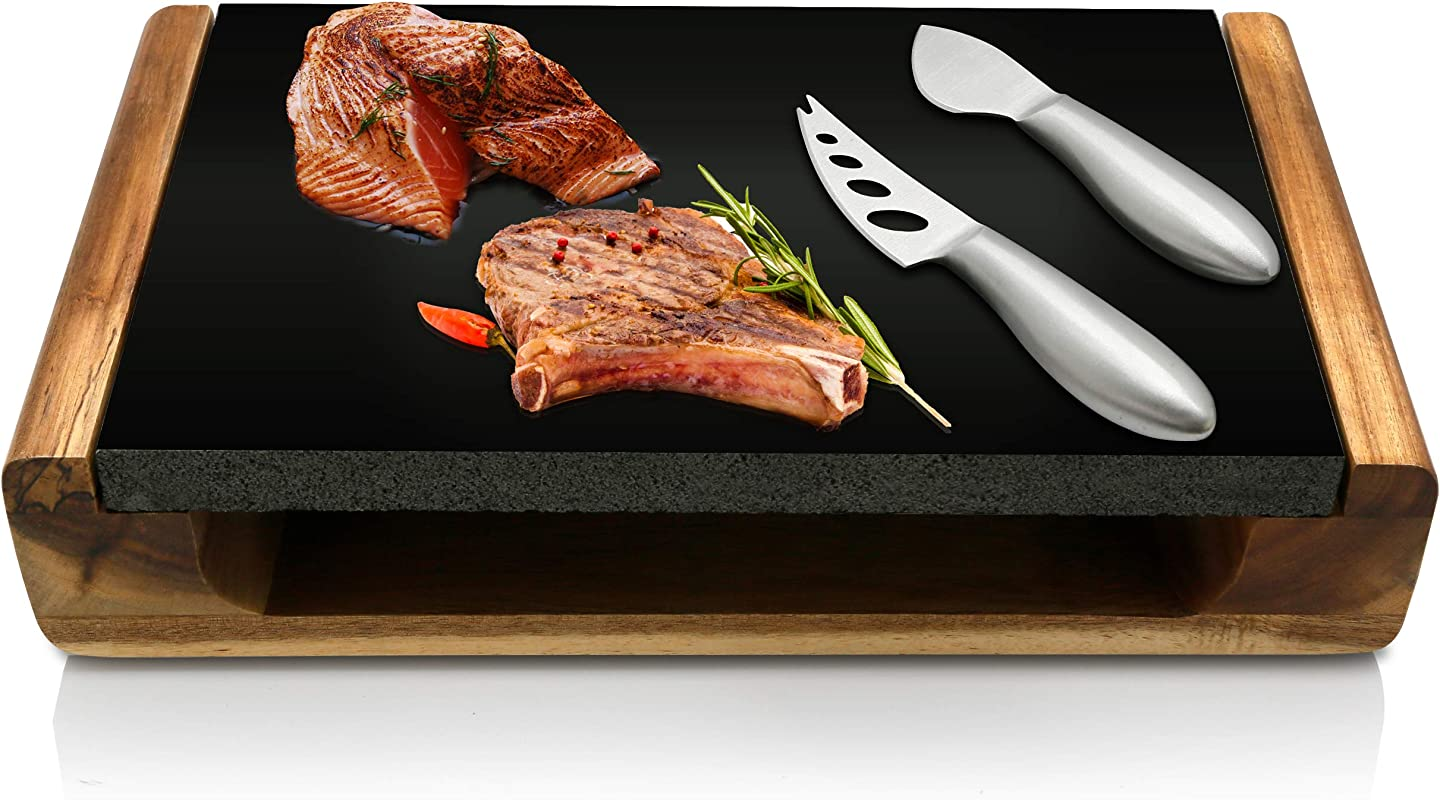 Hot Lava Stone Steak Plate Lava Rock Cooking Stone Grill Food Serving Platter Set W Acacia Wood Tray Lava Rock Slab Stainless Steel Knives Lava Rock For Cooking Steak Meat NutriChef PKLVST10