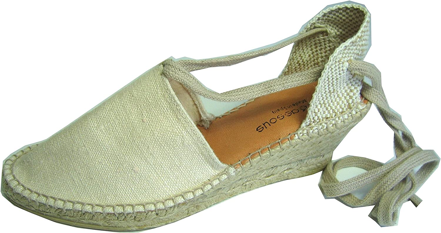 Andre Assous Wedge platorm shoes Canvas Ankle wrap Beige or Black for Spring Summer (10m Beige)