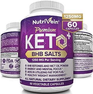Nutrivein Keto Diet Pills 1250mg - Advanced Ketogenic Diet Supplement - BHB Salts Exogenous Ketones Capsules - Effective Ketosis Best Keto Diet, Mental Focus and Energy, 60 Capsules