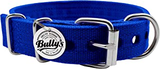 Pitbull Collar, Dog Collar for Large Dogs, Heavy Duty Nylon, Stainless Steel Hardware (Small-1.2 Inches Wide, Sapphire Blue)