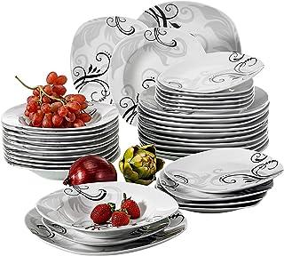 VEWEET, série Zoey, 36pcs, Service de Table, en Pocelaine, pour 12 Personnes, Design Moderne, Cadeau, Fête